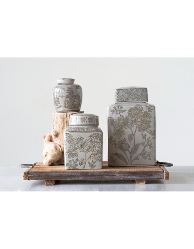 Stoneware Transferware Ginger Jar Taupe