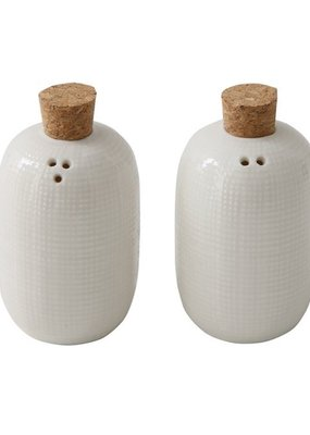Bloomingville Set of 2 Embossed Salt & Pepper Shakers in White