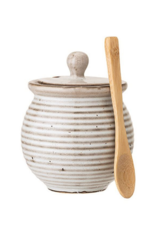 Bloomingville Stoneware Honey Pot with Dipper in White Reactive Glaze
