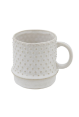 Bloomingville Stoneware Mug in White with Hobnail Pattern