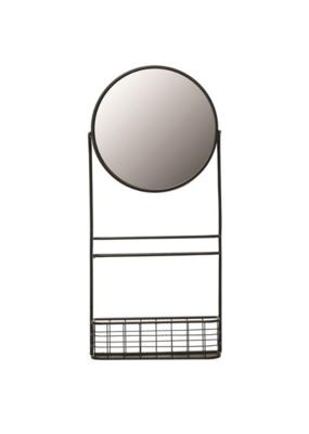 Bloomingville Metal Wall Mirror with Shelf & Basket in Black