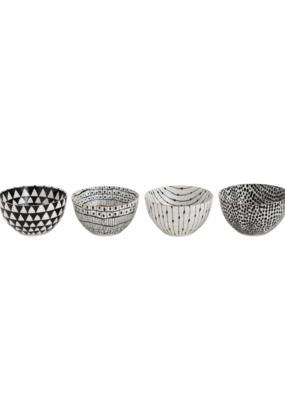 Stoneware Bowl Black Pattern with Gold