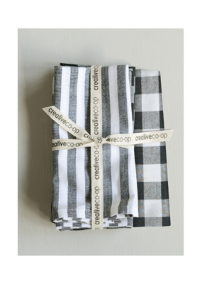 Set of 4 Square Cotton Napkins Black and White