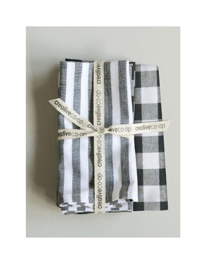 Set of 4 Square Cotton Napkins Black and White