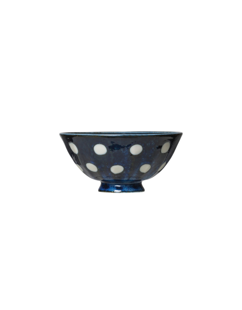 Porcelain Bowl Blue with White Polka Dots Small