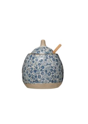 Stoneware Sugar Pot with /Lid & Spoon