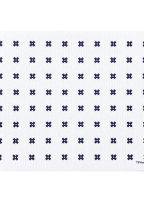 Ten & Co. Swedish Dish Cloth Drying Mat Tiny X White