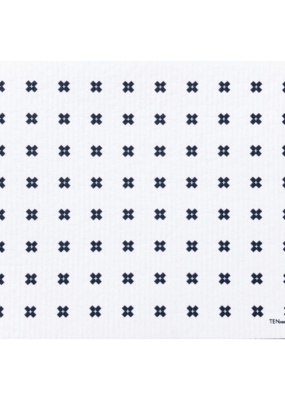 Ten & Co. Swedish Sponge Cloth Drying Mat Tiny X White