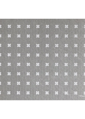 Ten & Co. Swedish Sponge Cloth Drying Mat Tiny X White on Grey
