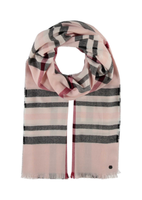 Fraas Lightweight Plaid Scarf Pale Rose