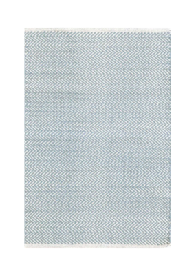 Dash & Albert Dash & Albert Crystal Swedish Cotton in Blue/Ivory Runner 2.5x8