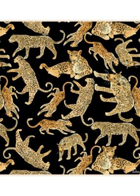 Echo Prowling Ocelot Silk Square Scarf Black