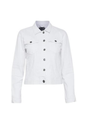 b.young Pully White Denim Jacket by b.young