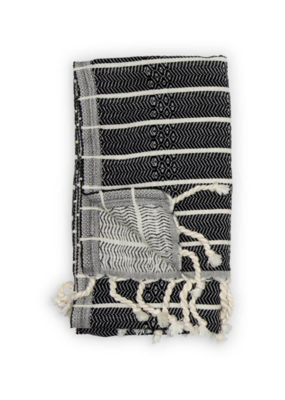 Bamboo Turkish Hand Towel in Black Monochrome