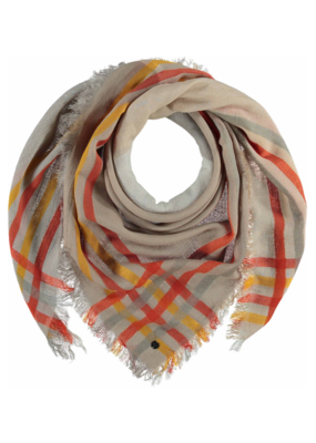 Fraas Bright Check Scarf Off White
