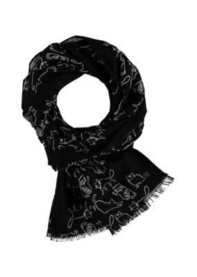 Fraas Doodle Cats Scarf Black