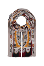 Fraas Ornate Paisley Scarf Gold