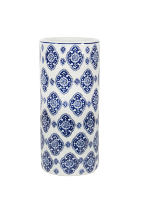 Umbrella Stand  White & Blue