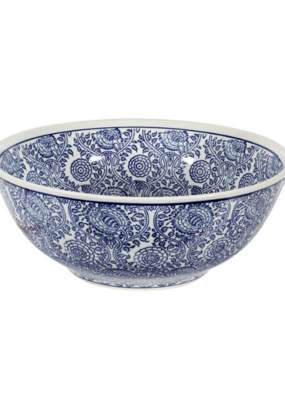 Large Blue & White Decorative Bowl