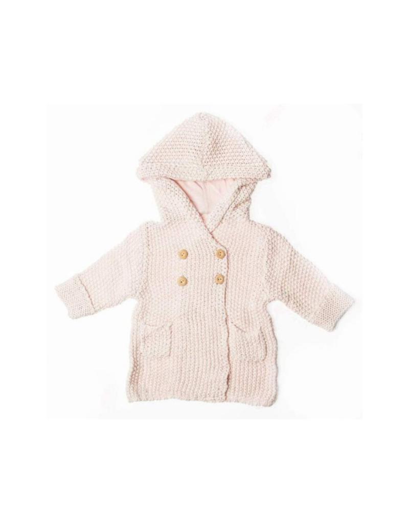 Crochet Knit Hoodie Pink
