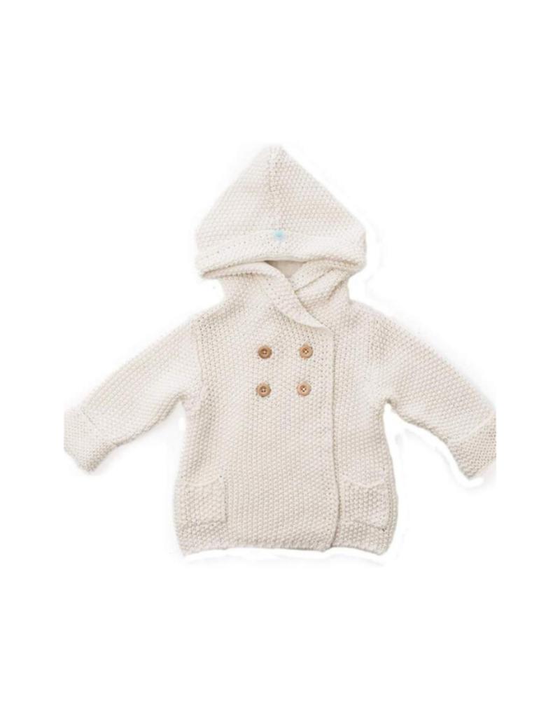 Crochet Knit Hoodie Ivory