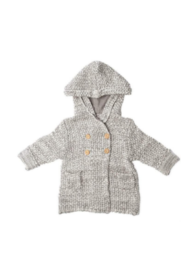 Crochet Knit Hoodie Grey