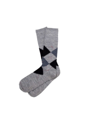 Alpaca  Argyle Socks Grey XL