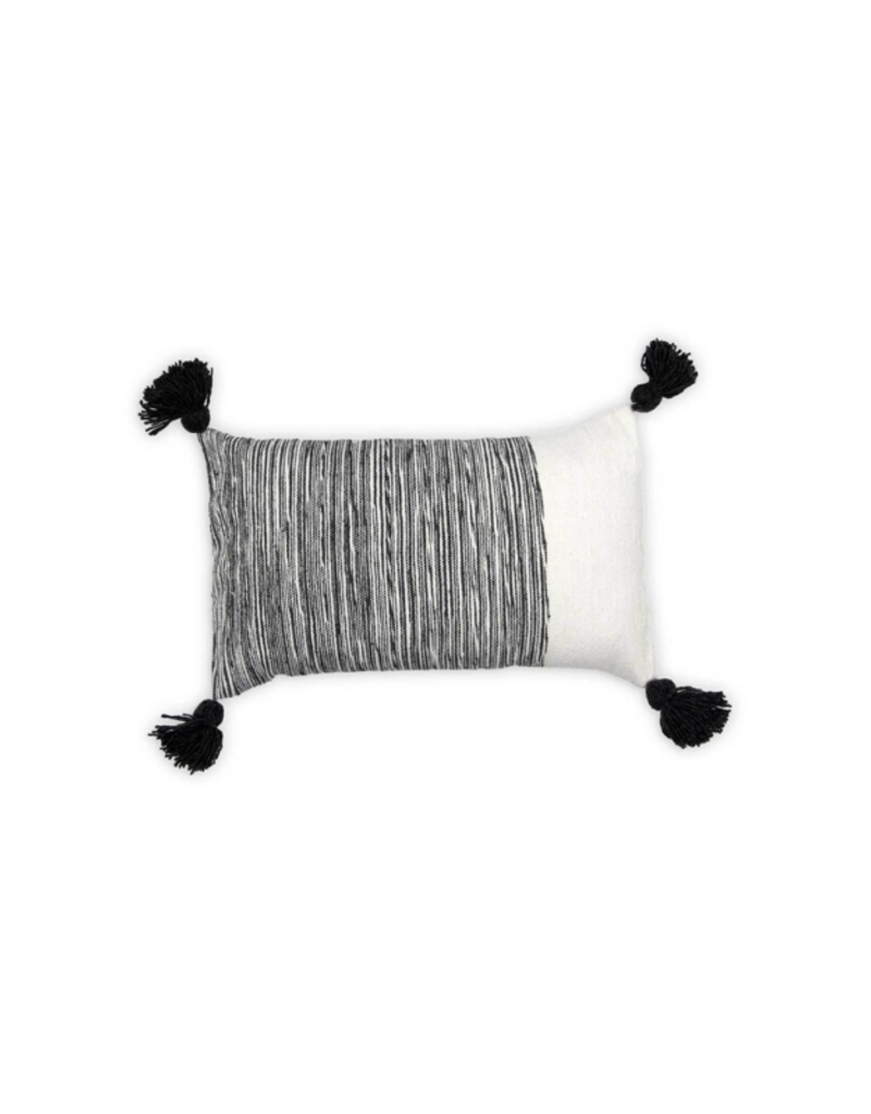 Moroccan Pom Pom Dipped Charcoal Pillow
