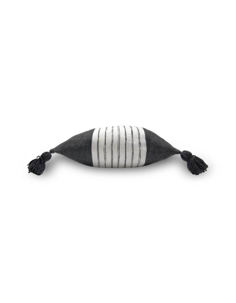 Moroccan Pom Pom Belted Charcoal Pillow