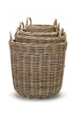 Tall Round Kubu Grey Basket