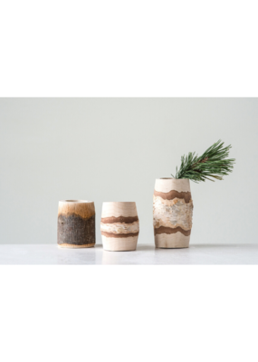 Round Wood Mini Planter