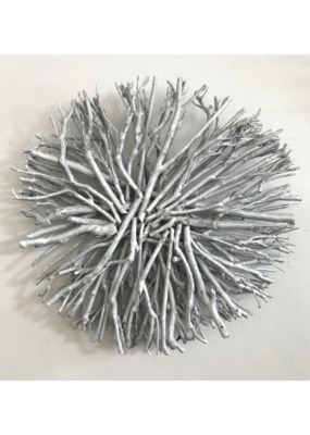 "18"" Root Wreath White Wash"