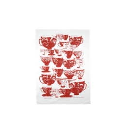 rain goose textiles Red Tea Cups Linen Tea Towel by Rain Goose