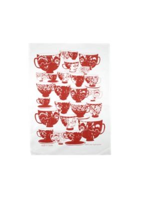 rain goose textiles Red Tea Cups Linen Tea Towel by Rain Goose
