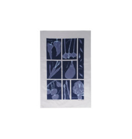 rain goose textiles Blue Vegetable Linen Tea Towel by Rain Goose