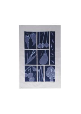 rain goose textiles Blue Vegetable Linen Tea Towel by Rain Goose