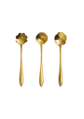 Gold Flower Shaped Spoons Set of 3