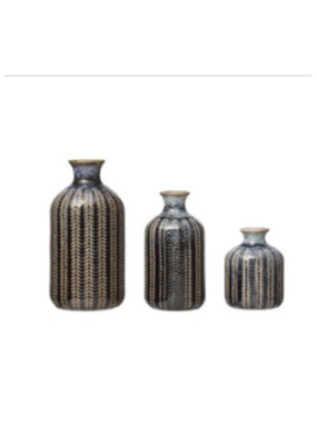 Embossed Stoneware Vase with Reactive Glaze
