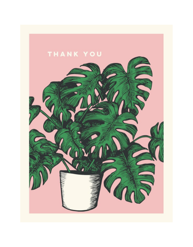 The Good Days Print Co. Pink Monestera Thank You Card