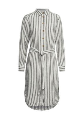 Part Two Part Two Bondie Dress Black Stripe Linen