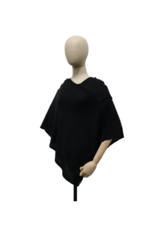 Fraas Triangle Ribbed Poncho Black