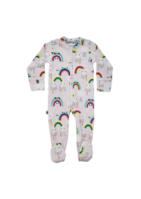 Inchworm Alley Longleeve Rainbow Clouds Footies 9-12m