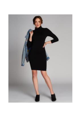 C'est Moi Clothing C'est Moi Bamboo One Size Turtleneck Dress Black