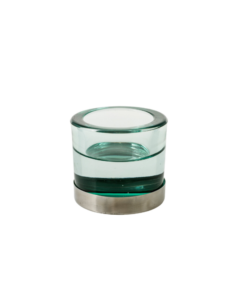 Blanka Candleholder Green & Silver