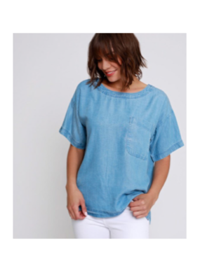 Boxy Top with Patch Pocket Blue