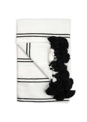 Moroccan Pom Pom Queen Sized Blanket in Double Black