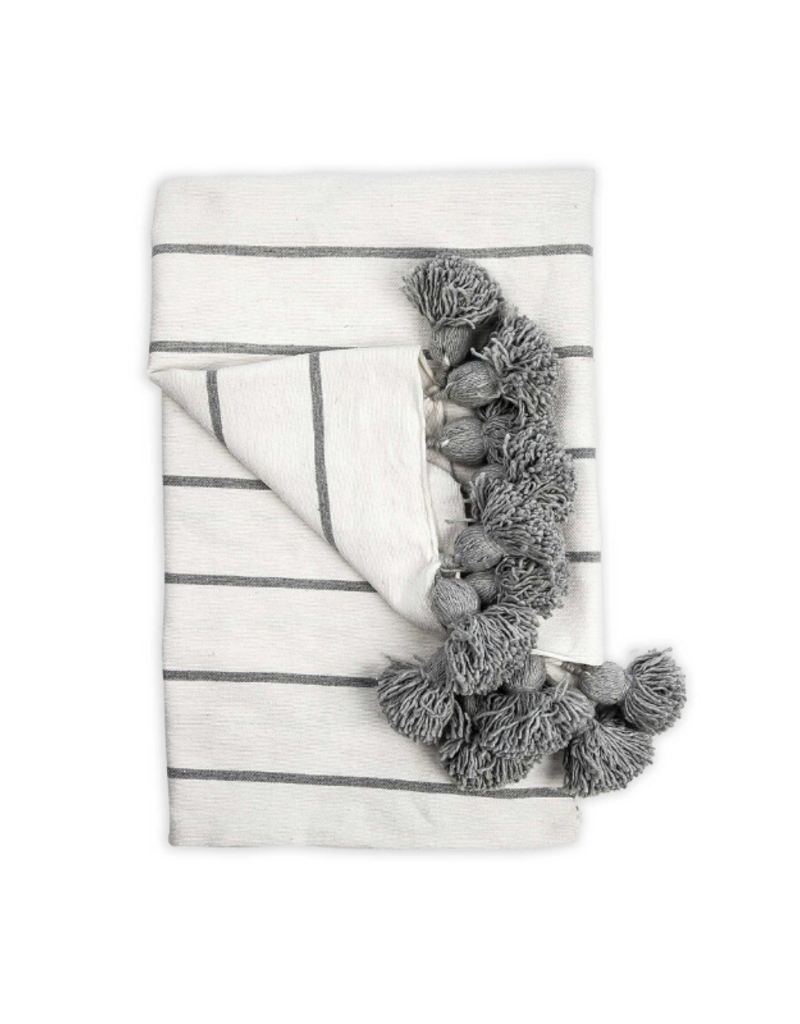 Moroccan Pom Pom Queen Sized Blanket in Classic Light