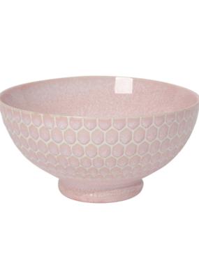 "Embossed Honey Serving Bowl 8"" Pink"