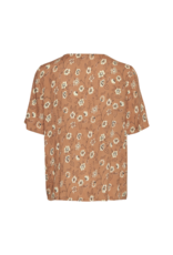 b.young Hilda V-Neck Blouse in Safari Brown by b.young