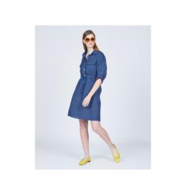 pistache Pistache Linen Safari Dress Mediterranean Blue